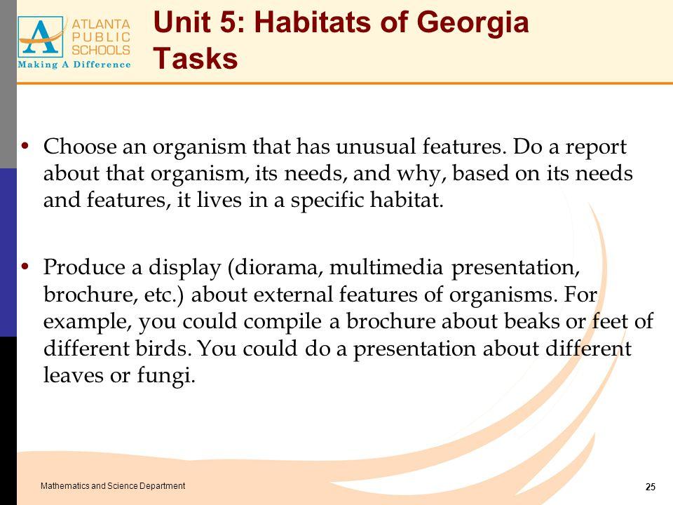 Unit 5: Habitats of Georgia Essential Labs
