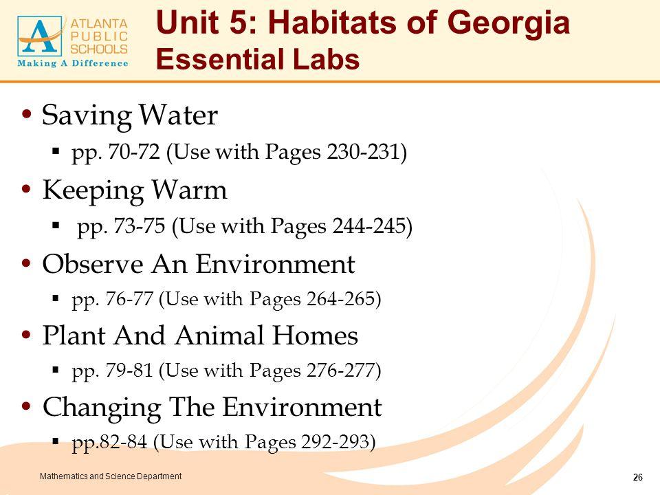 Unit 5: Habitats of Georgia Culminating Tasks: Zoo (Part 1)