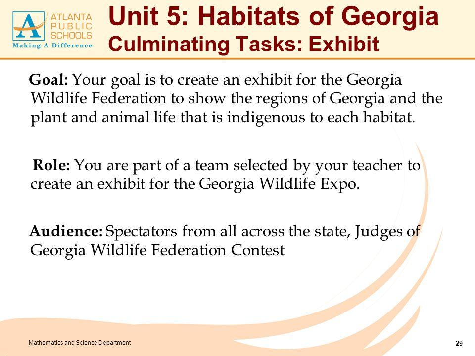 Unit 5: Habitats of Georgia Culminating Tasks: Exhibit