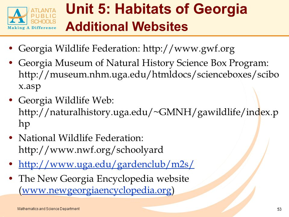 Unit 5: Habitats of Georgia Additional Websites