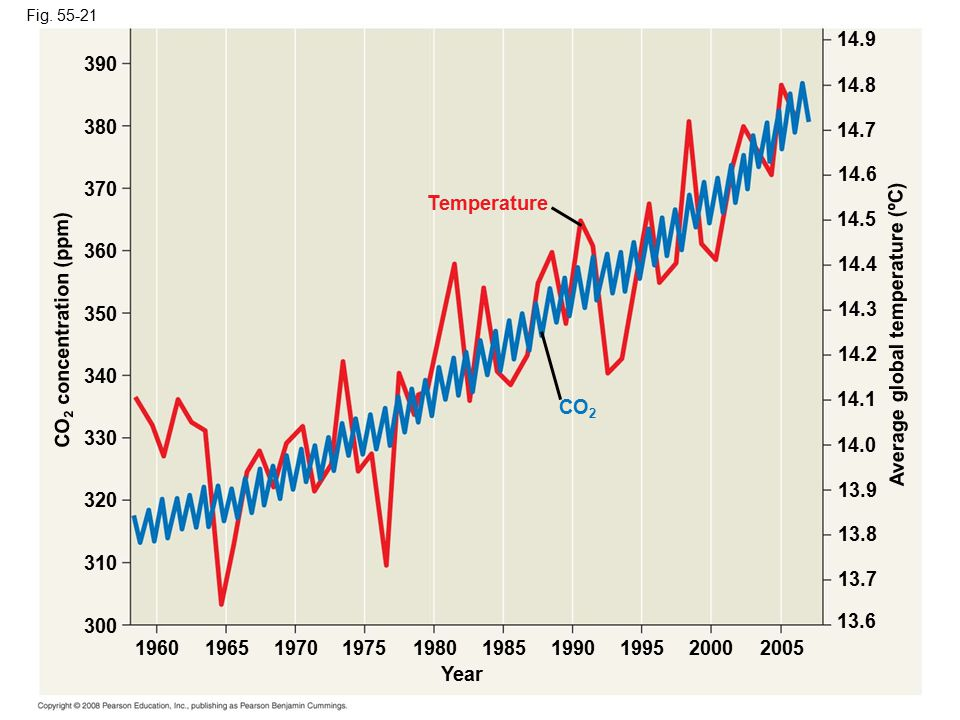 CO2 concentration (ppm) Average global temperature (ºC)