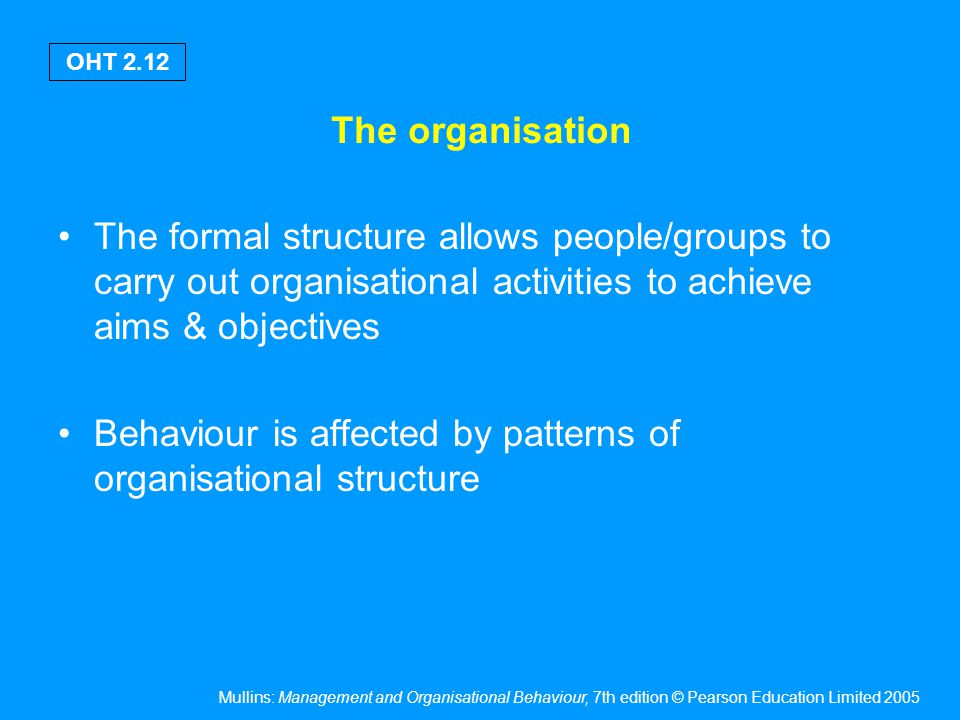 The environment affects the organisation through: