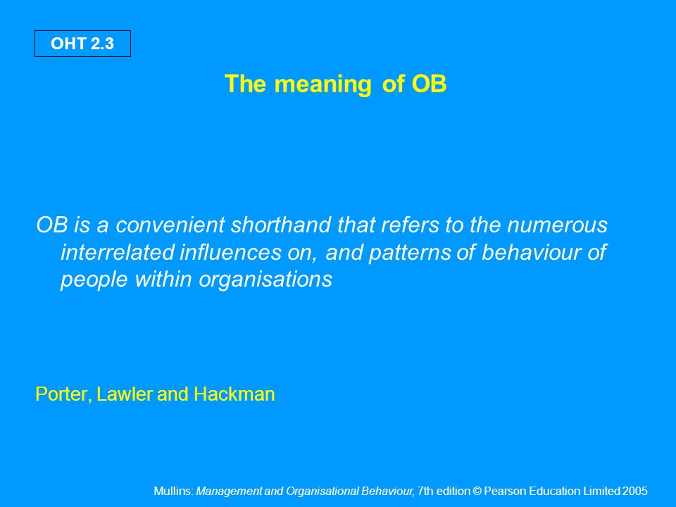 The meaning of OB