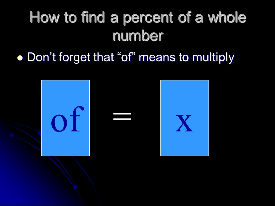How to find a percent of a whole number
