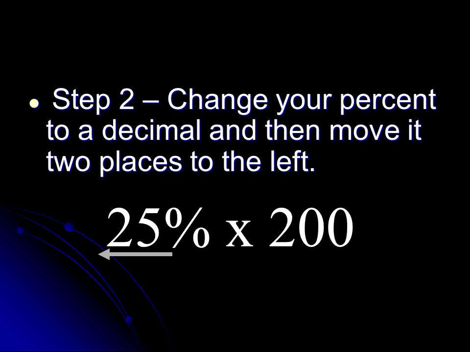 Step 2 – Change your percent to a decimal and then move it two places to the left.