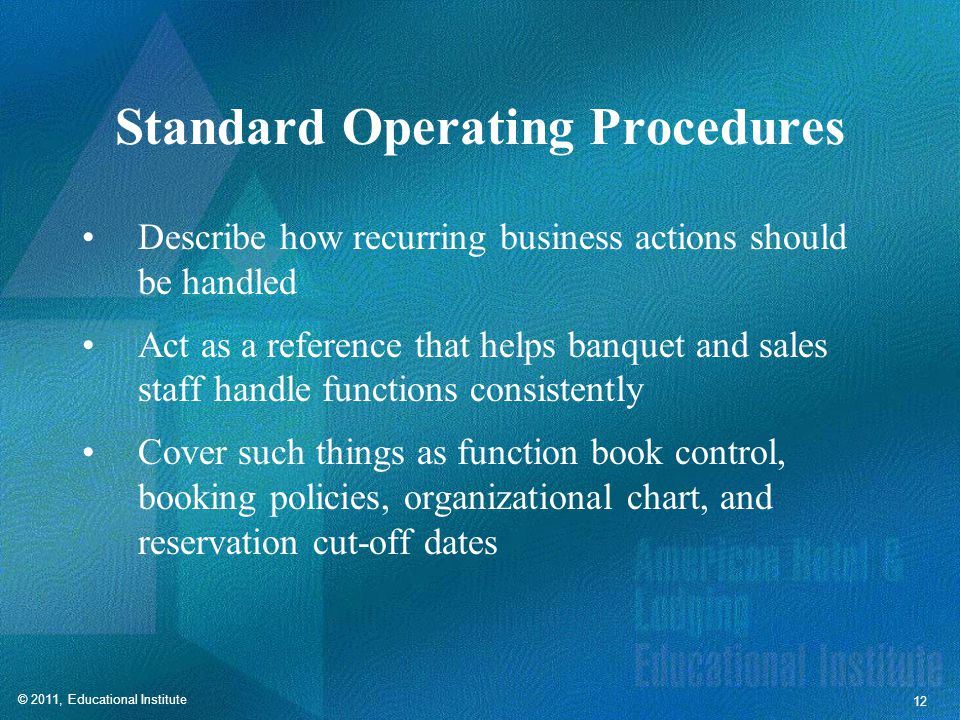 Areas Covered by SOPs Function book control and procedures
