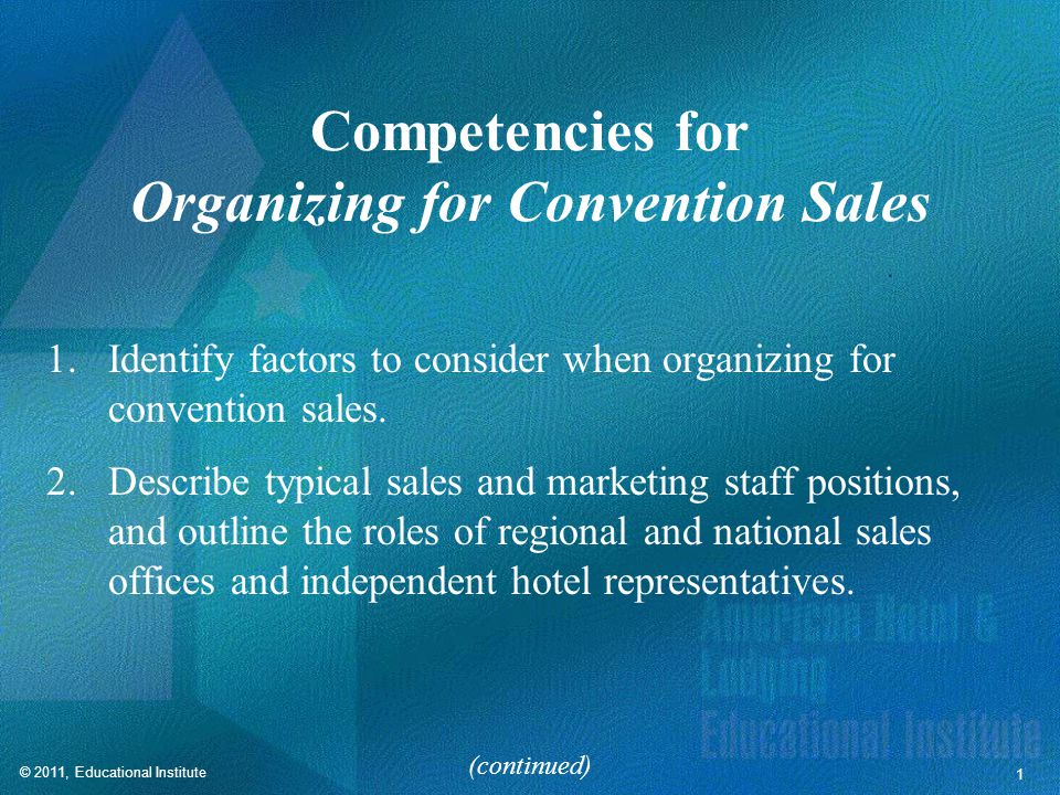 Competencies for Organizing for Convention Sales