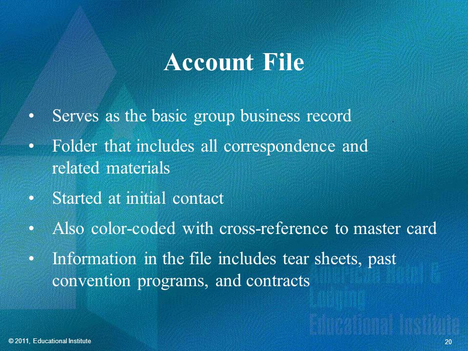 Tickler File Also known as a trace file, bring-up file, or follow-up file. Helps ensure effective follow-up.