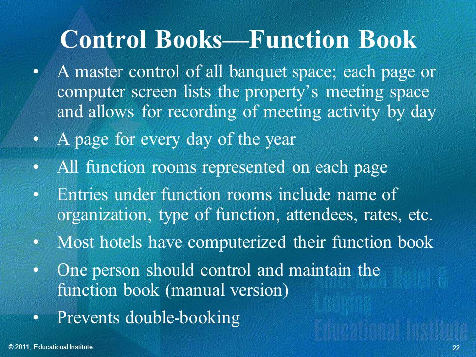 Control Books—Guestrooms Control Book