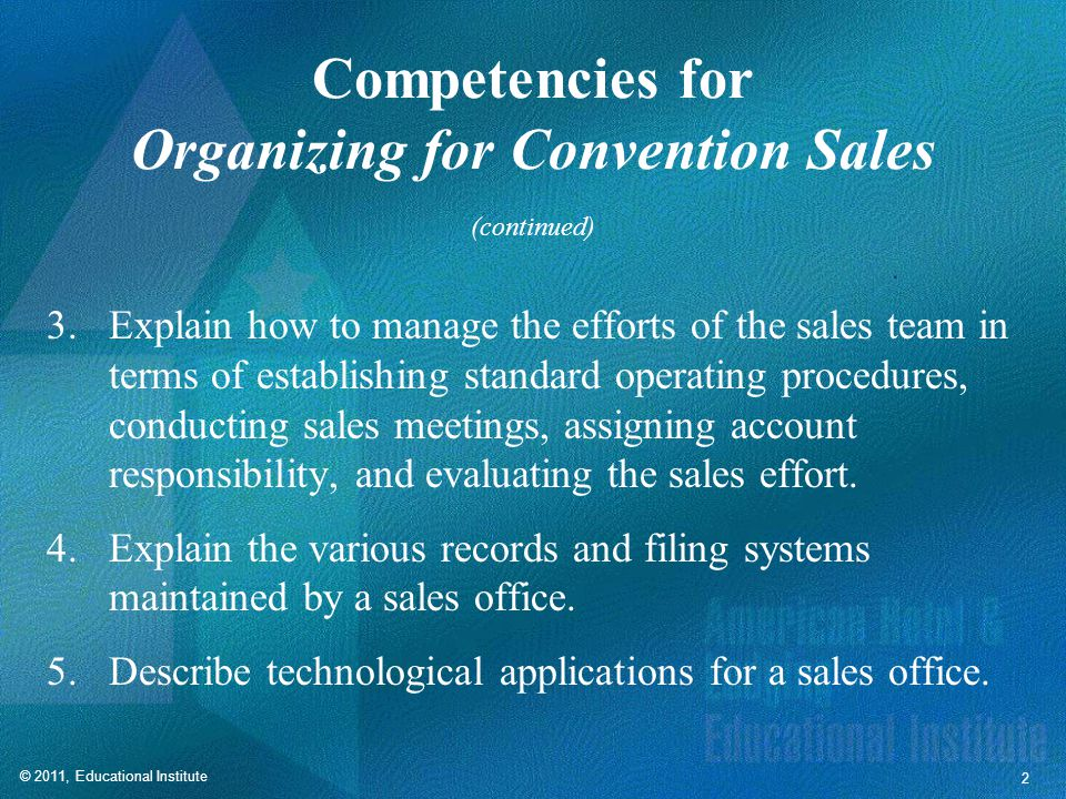 Organizing for Convention Sales
