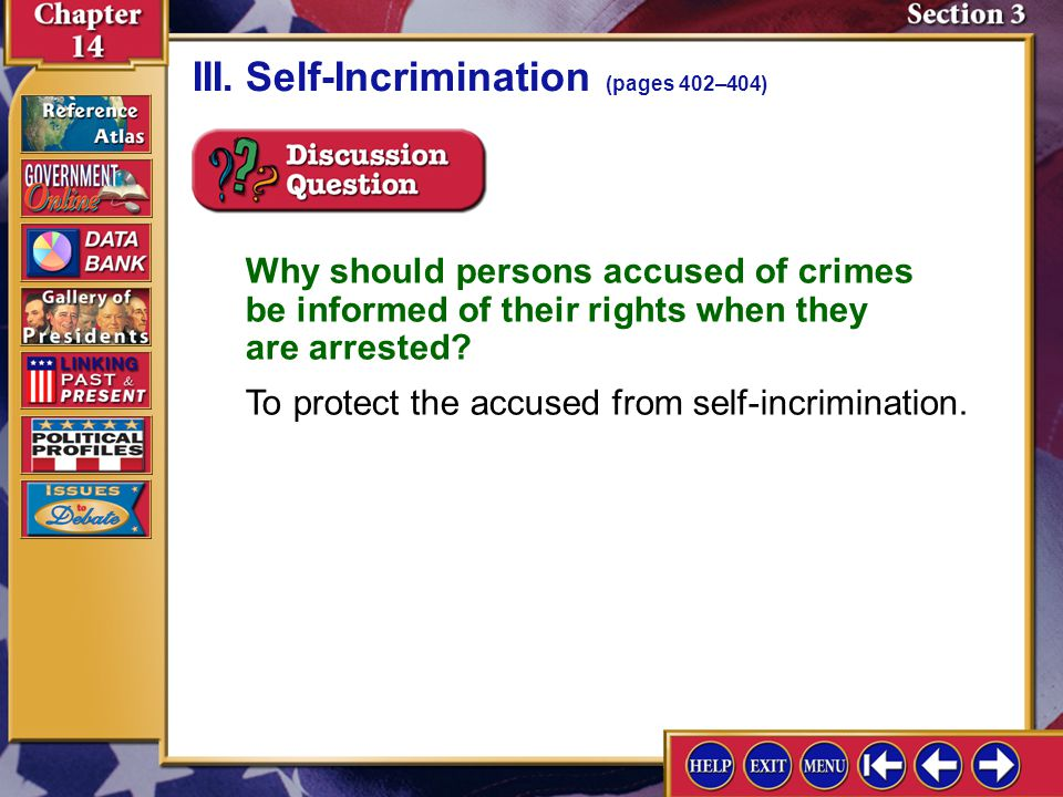 III. Self-Incrimination (pages 402–404)