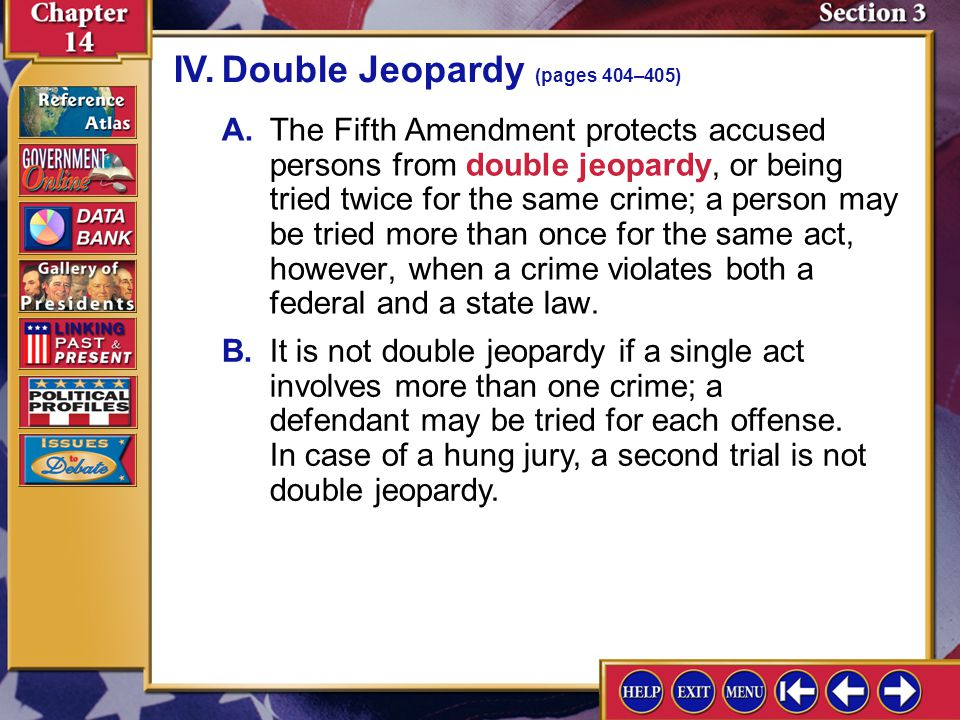 IV. Double Jeopardy (pages 404–405)