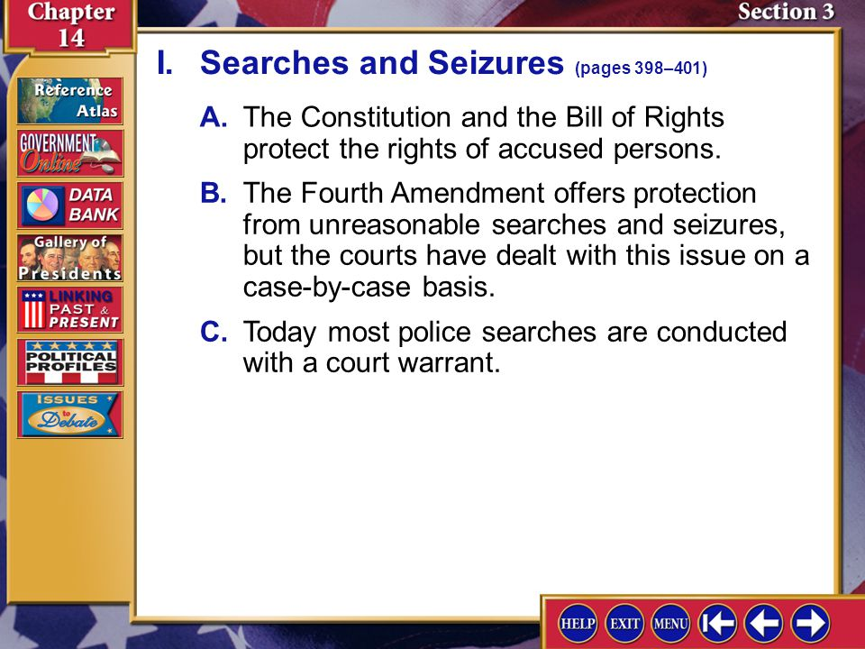 I. Searches and Seizures (pages 398–401)