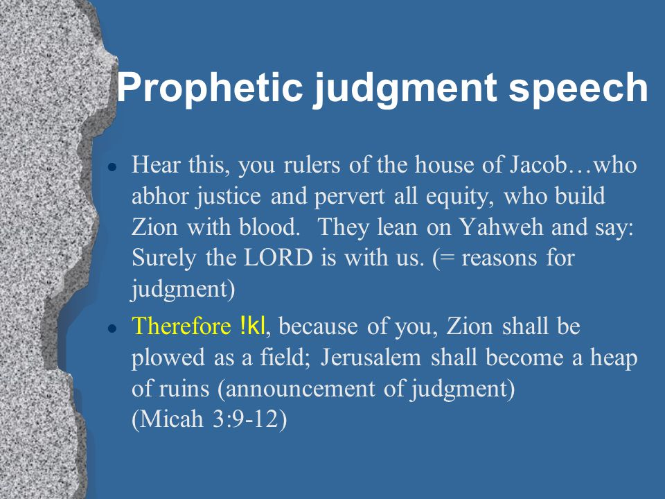 Prophetic judgment speech