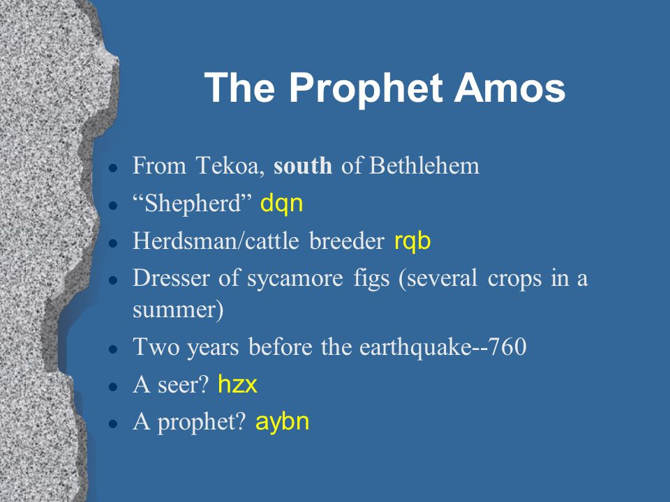 The Prophet Amos From Tekoa, south of Bethlehem Shepherd dqn