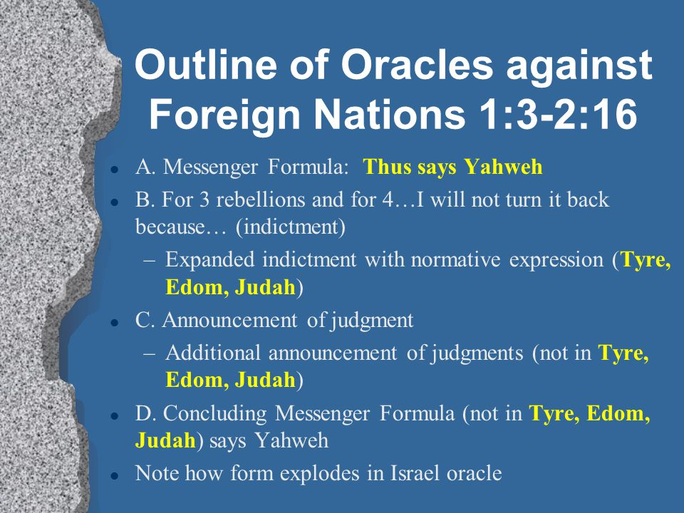 Outline of Oracles against Foreign Nations 1:3-2:16