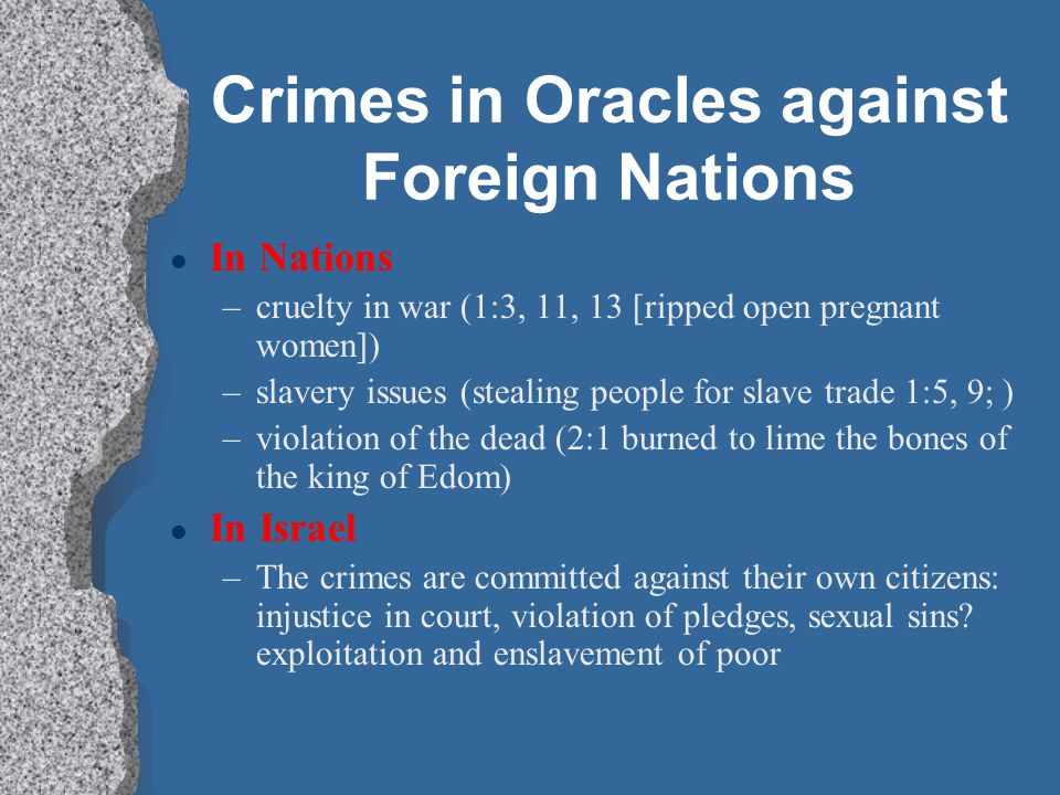 Crimes in Oracles against Foreign Nations