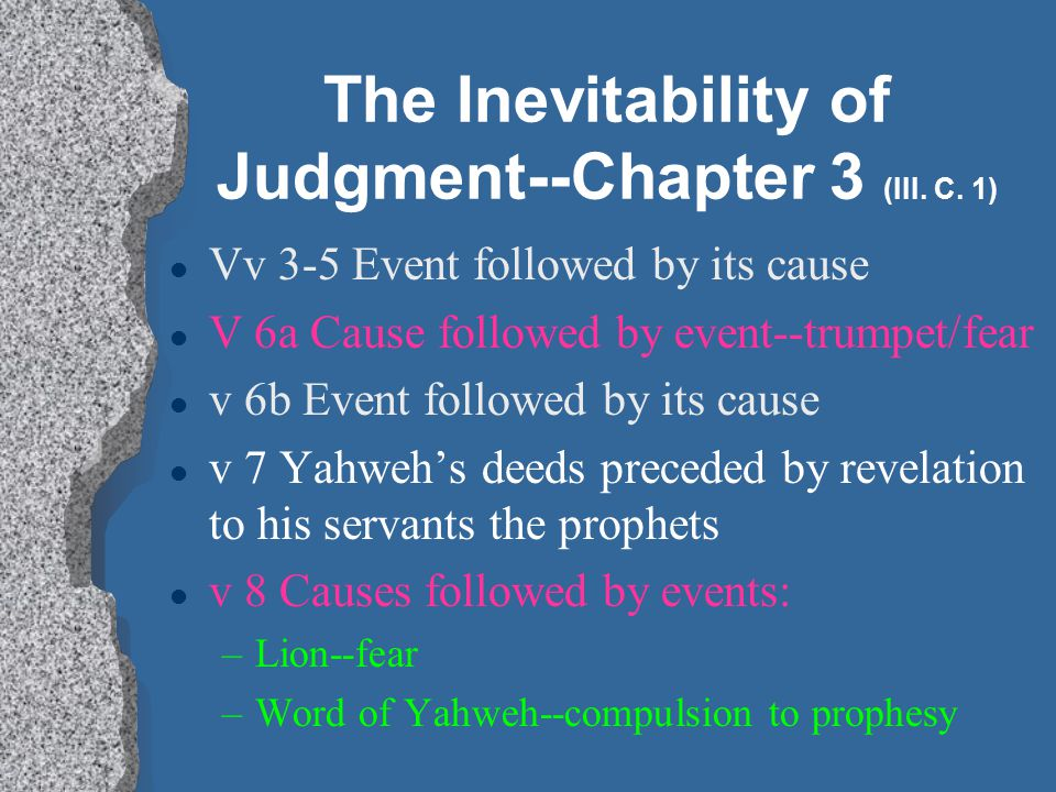 The Inevitability of Judgment--Chapter 3 (III. C. 1)