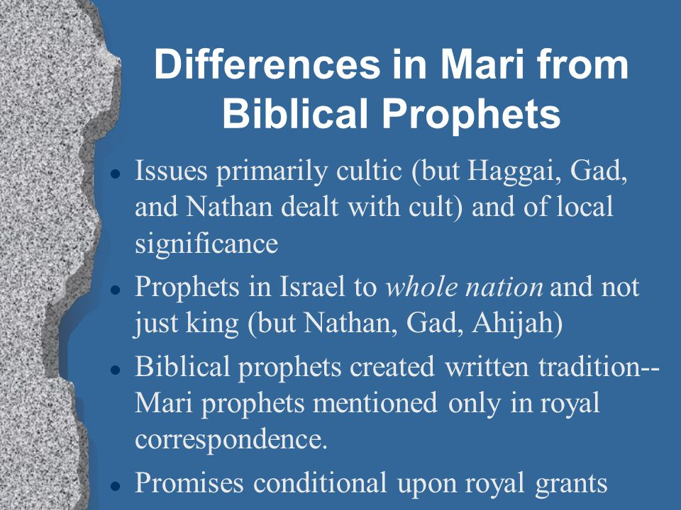 Differences in Mari from Biblical Prophets