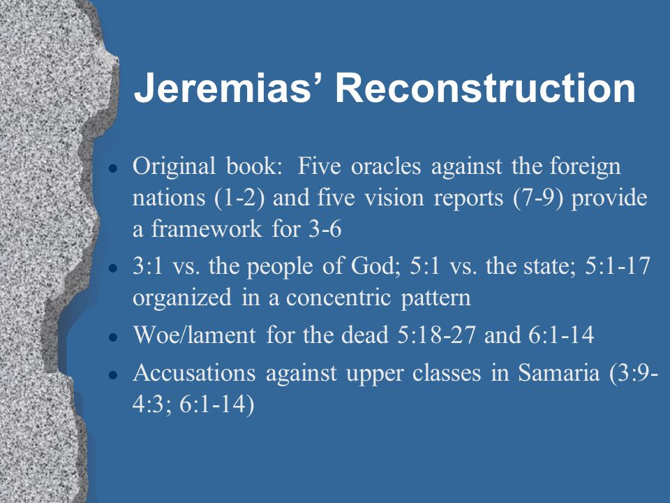 Jeremias' Reconstruction
