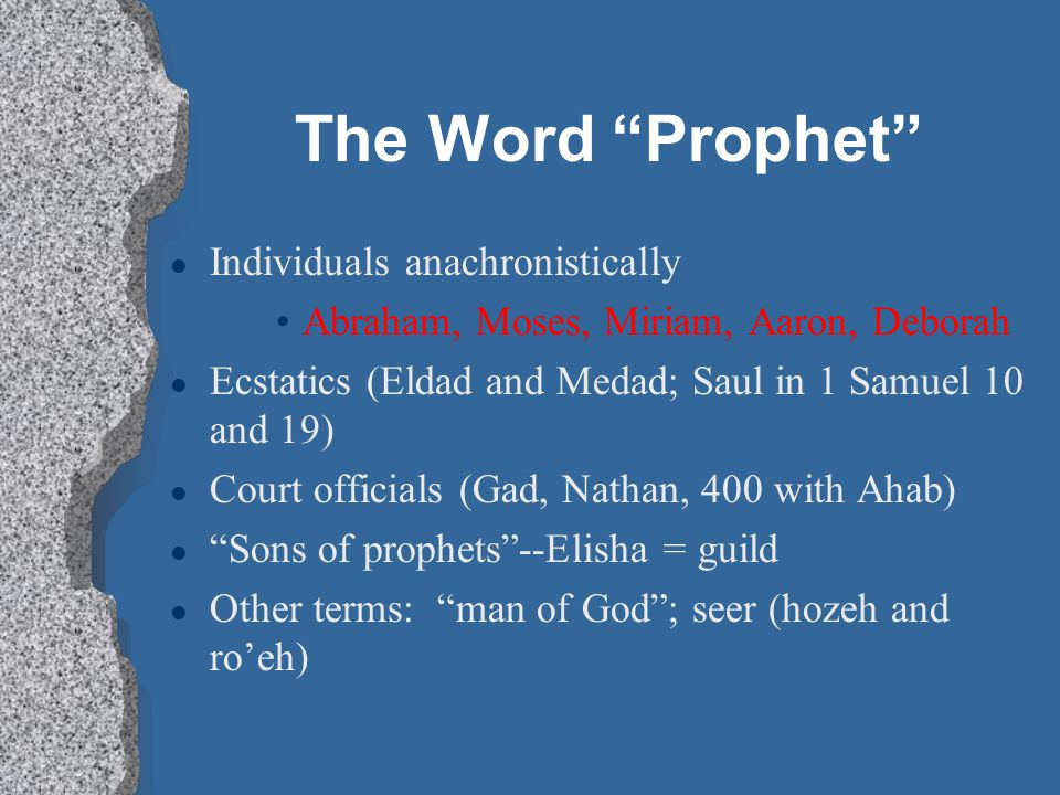 The Word Prophet Individuals anachronistically