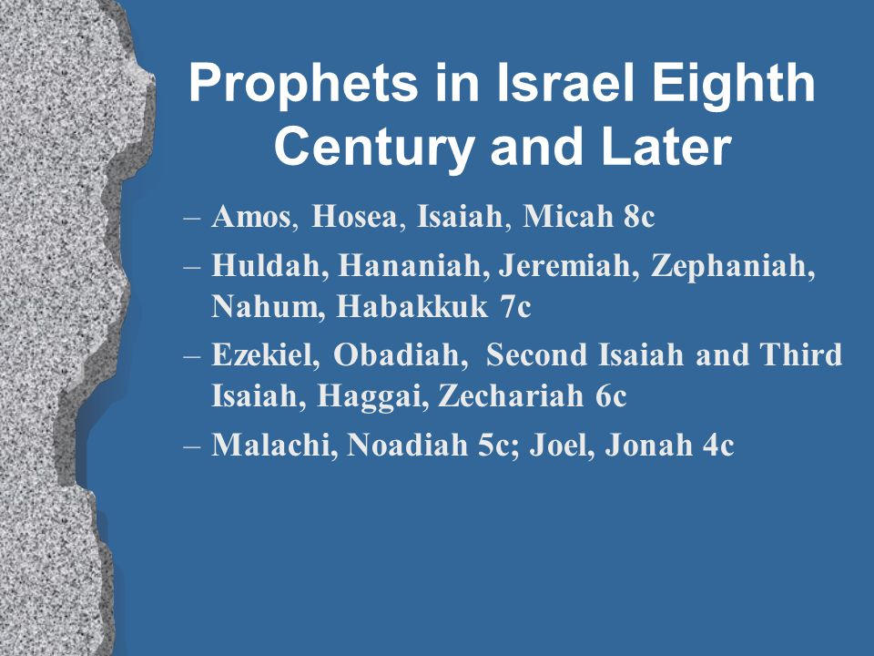 Prophets in Israel Eighth Century and Later