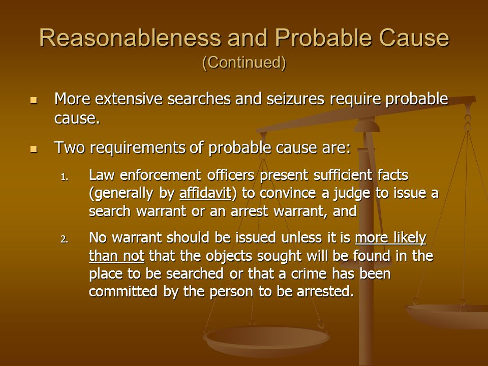 Reasonableness and Probable Cause (Continued)