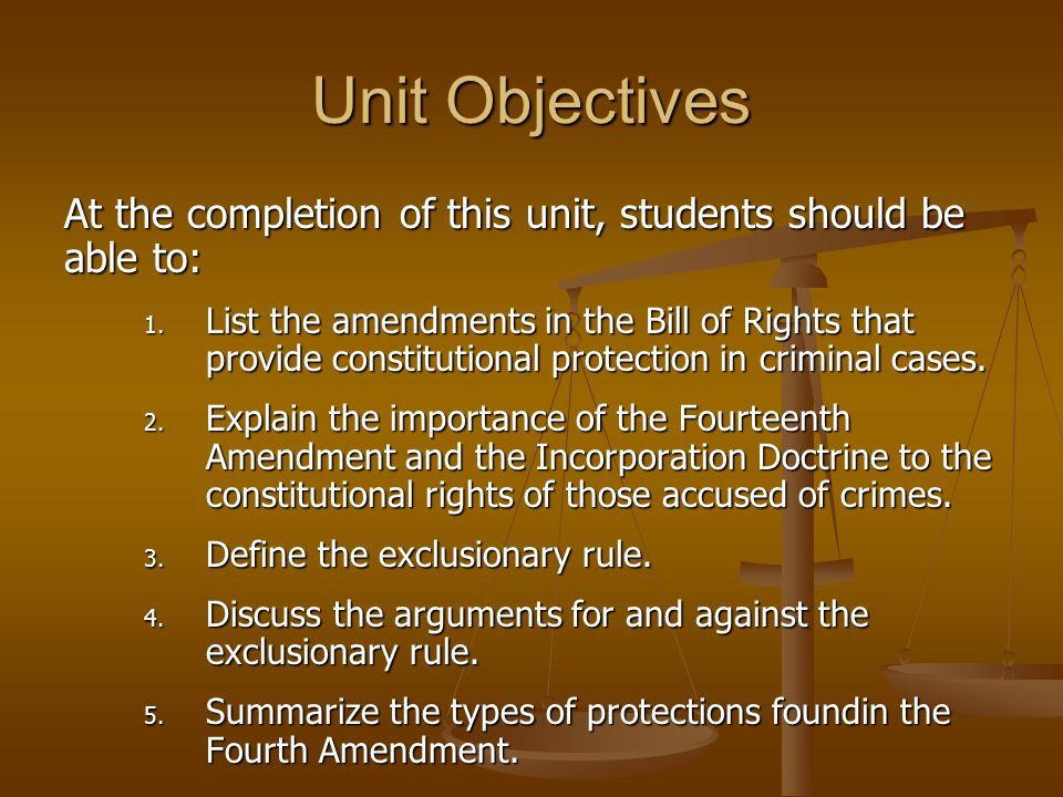 Unit Objectives At the completion of this unit, students should be able to: