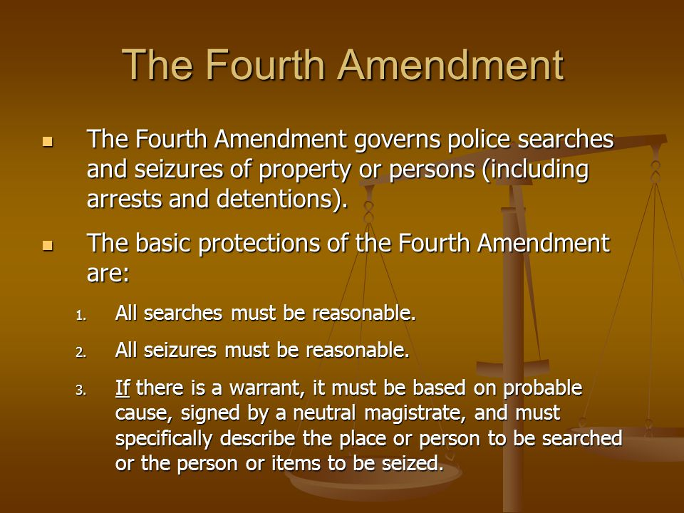 the constitutional rights and the search and seizure of a property Current topics in law and policy civil forfeiture, warrantless property seizures, and the fourth amendment alok ahuja prior to saturday, june 22, 1985, joseph spina would have been.