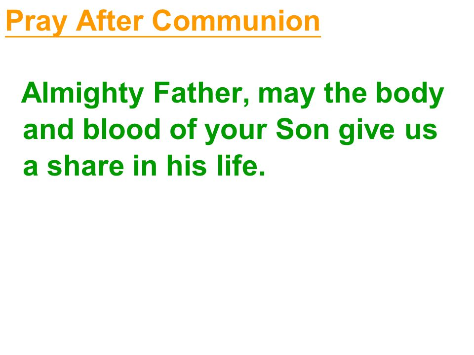 Pray After Communion Almighty Father, may the body and blood of your Son give us a share in his life.