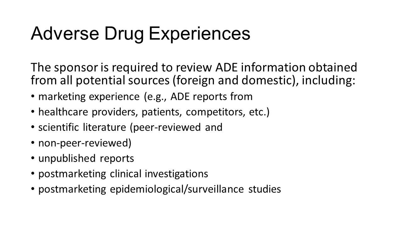 Adverse Drug Experiences