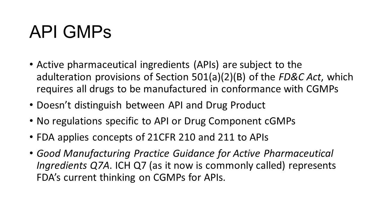 API GMPs