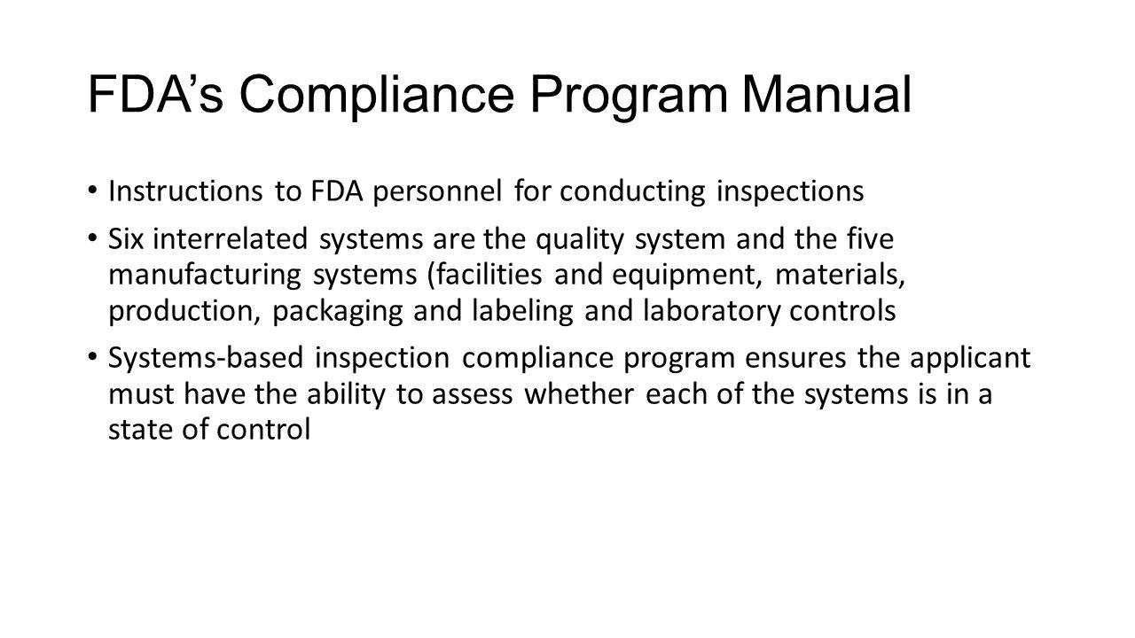 FDA's Compliance Program Manual