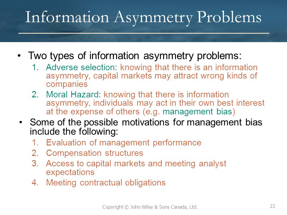 Information Asymmetry Problems