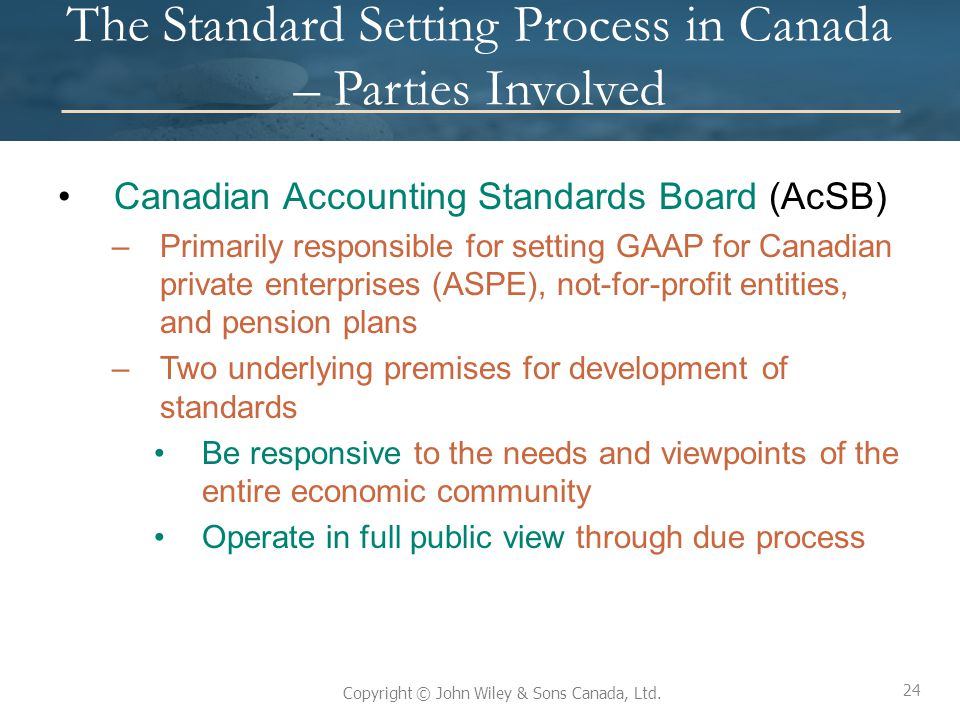 The Standard Setting Process in Canada – Parties Involved