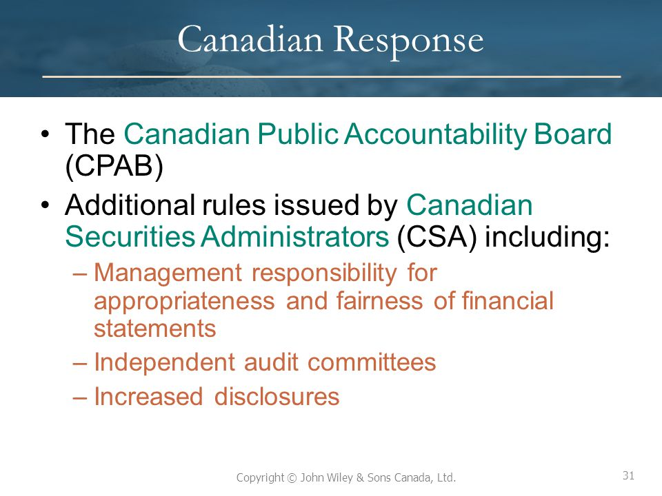 Canadian Response The Canadian Public Accountability Board (CPAB)
