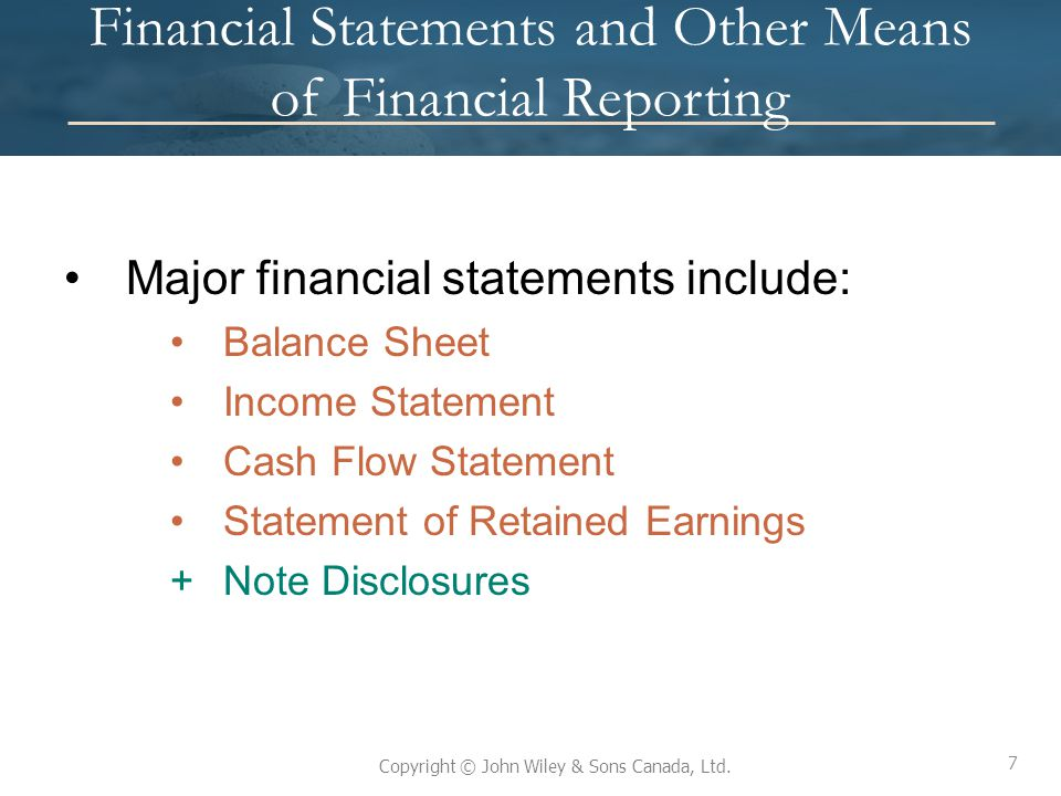 Financial Statements and Other Means of Financial Reporting