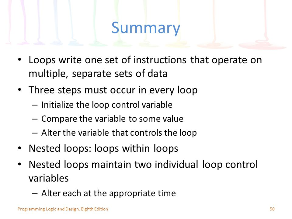 Summary Loops write one set of instructions that operate on multiple, separate sets of data. Three steps must occur in every loop.