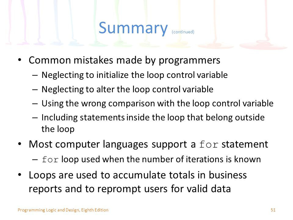 Summary (continued) Common mistakes made by programmers