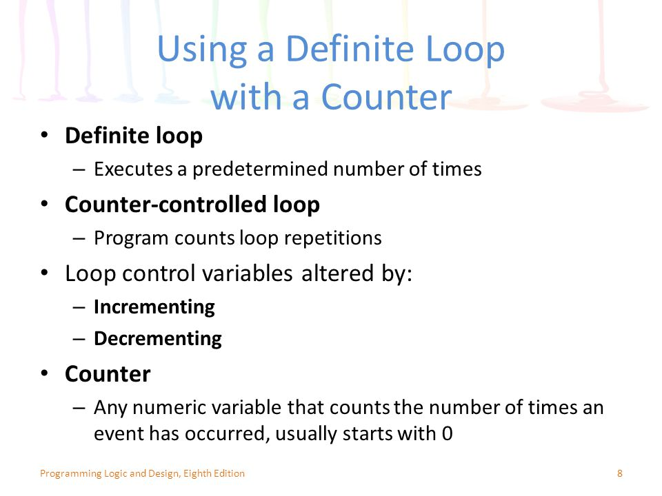 Using a Definite Loop with a Counter