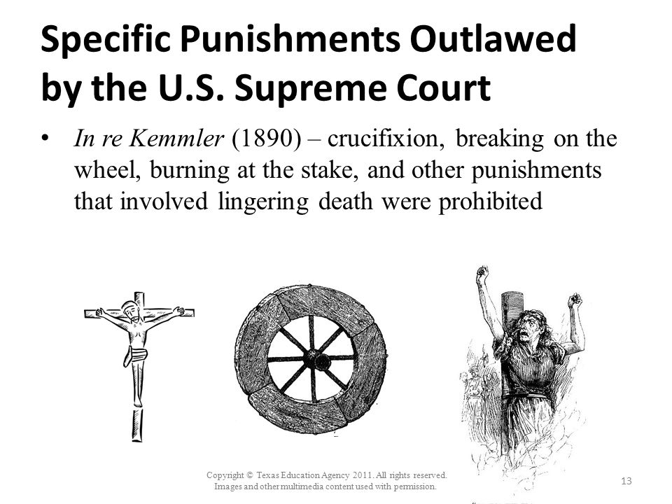 Specific Punishments Outlawed by the U.S. Supreme Court