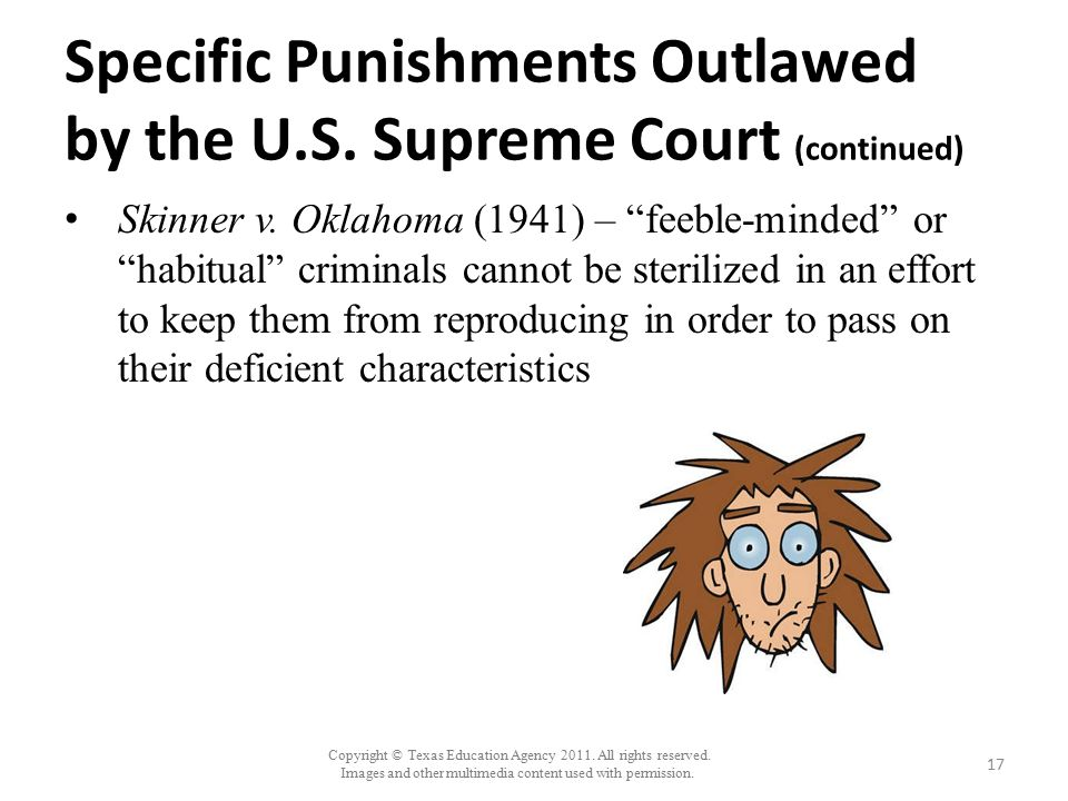 Specific Punishments Outlawed by the U.S. Supreme Court (continued)