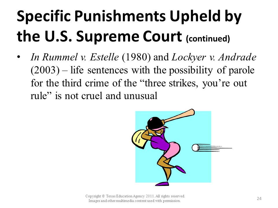 Specific Punishments Upheld by the U.S. Supreme Court (continued)