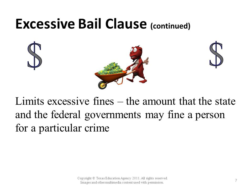 Excessive Bail Clause (continued)
