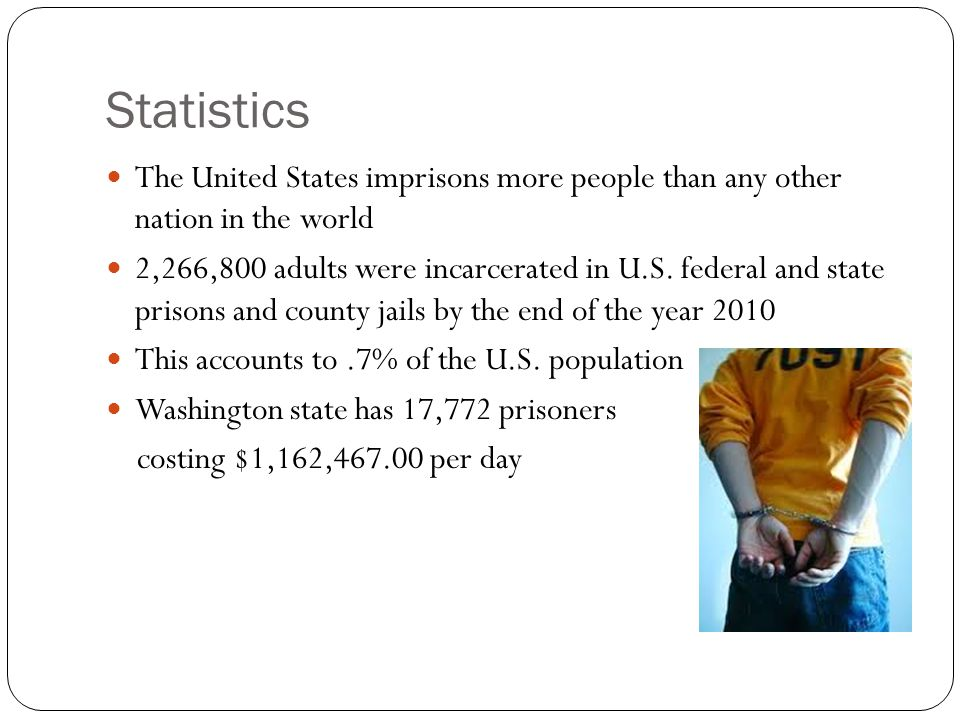 Statistics The United States imprisons more people than any other nation in the world.