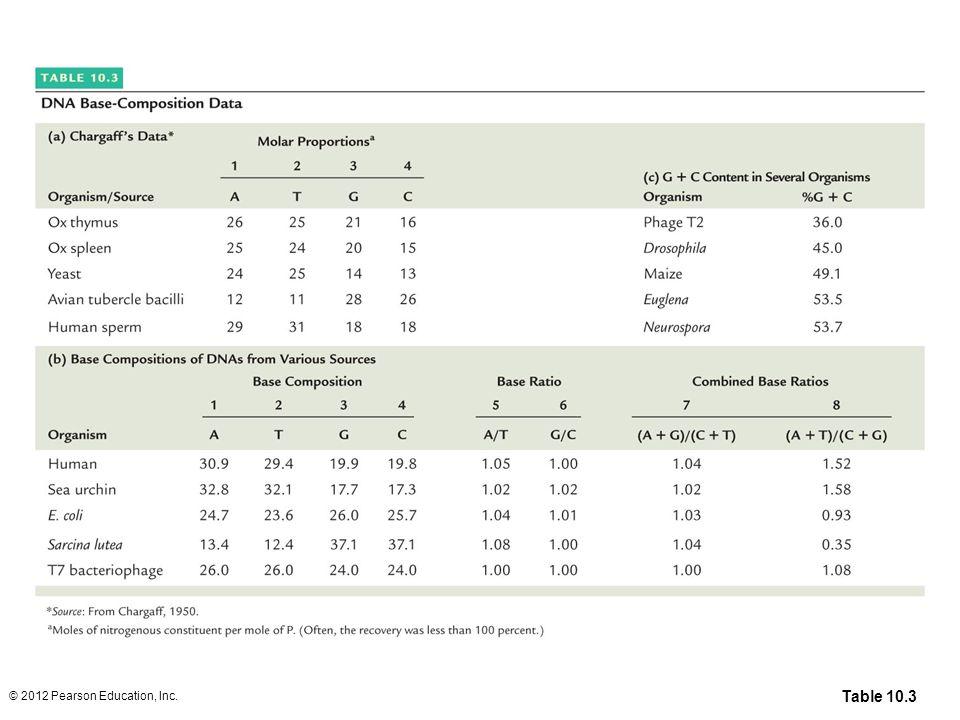 Table 10.3 DNA Base Composition Data