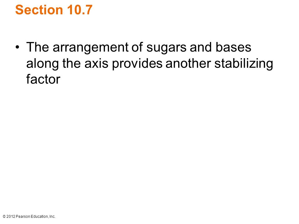 Section 10.7 The arrangement of sugars and bases along the axis provides another stabilizing factor.