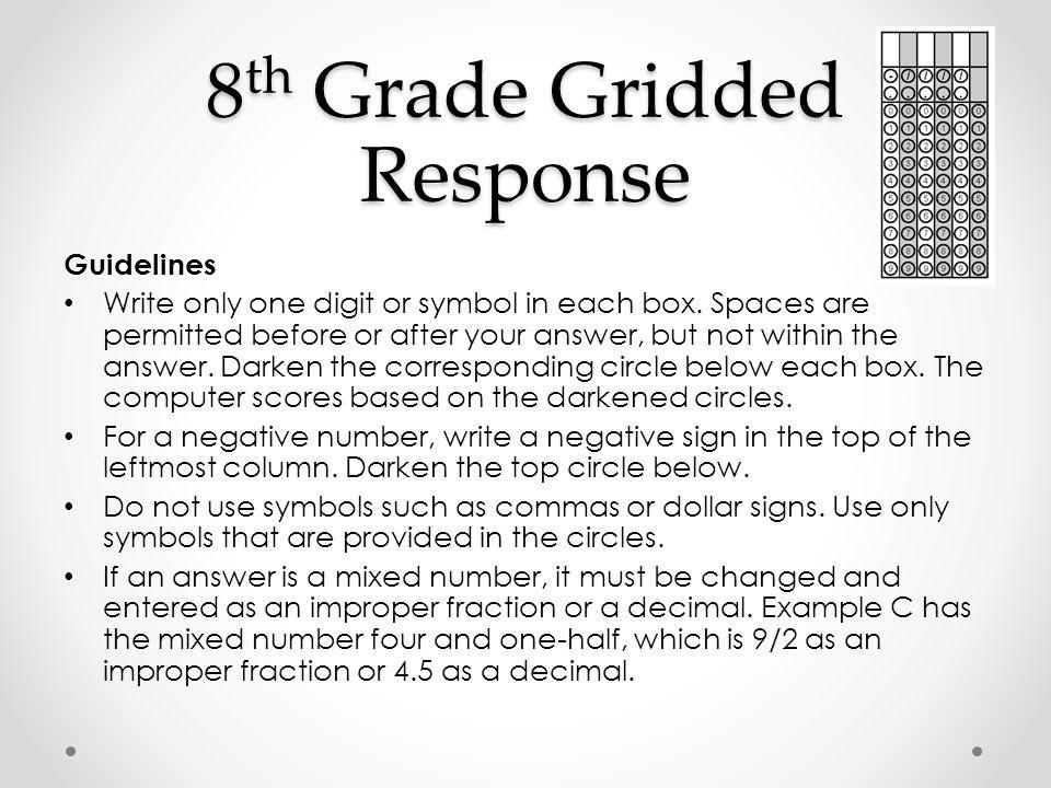 8th Grade Gridded Response