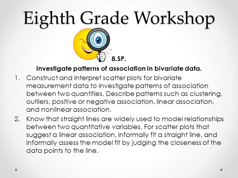 Investigate patterns of association in bivariate data.