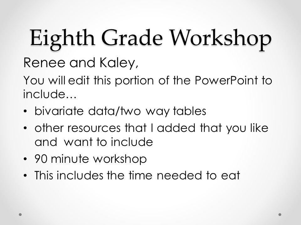 Eighth Grade Workshop Renee and Kaley,